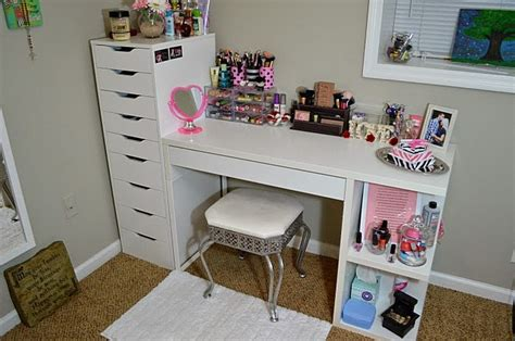 vanity and makeup storage ikea alex 9 and micke desk with