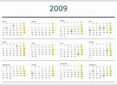 El calendario laboral del 2009