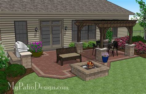 traditional brick patio design with pergola and pit