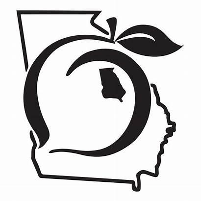 Peach Georgia State Decal Clip Sticker Pride