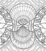 Coloring Seashell Pages Sea Adult Shells Marine Seashells Patterns sketch template