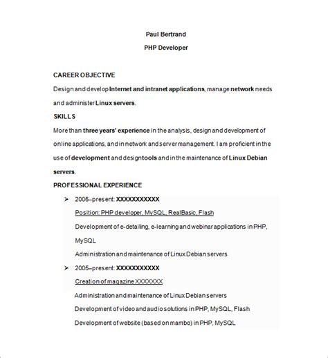php developer resume template 19 free sles exles