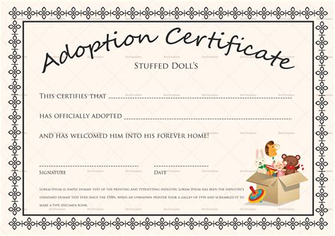 doll adoption certificate design template  psd word