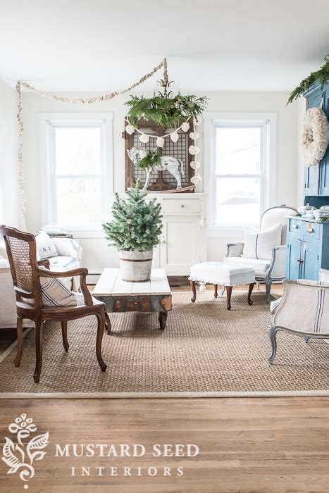 christmas decorating  living room  mustard seed