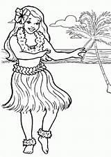 Coloring Luau Printables Hawaiian Hula Popular Dance sketch template