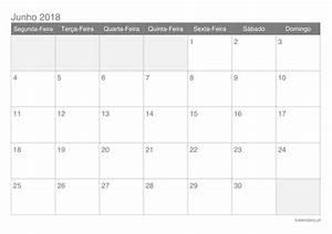 Calendário junho 2018 para imprimir iCalendáriopt