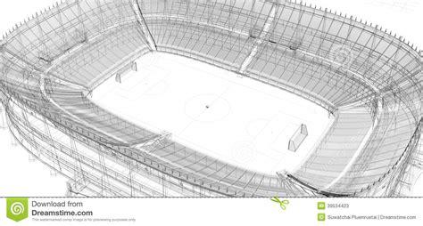 Kleurplaat Voetbalstadion by Draadkader Voetbal Of Voetbalstadion Stock Illustratie