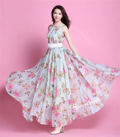 colors chiffon butterfly pink flower long party evening