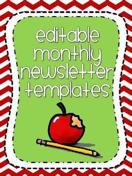 cute editable monthly newsletter templates chevron themed