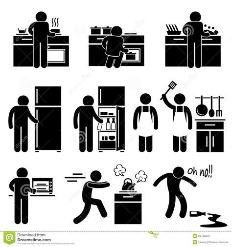 la cuisine de a à z homme faisant cuire le lavage au pictogramme de cuisine