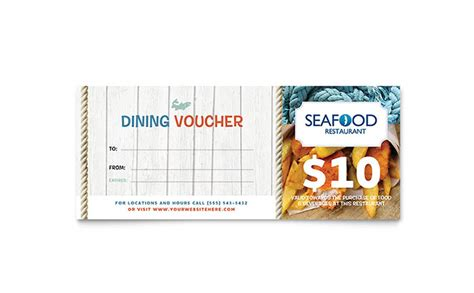 seafood restaurant gift certificate template design