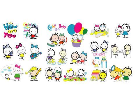kiki coco cartoon character icons  vector art