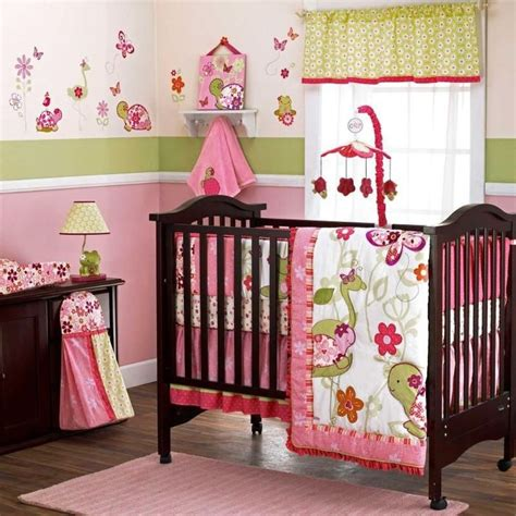 turtle crib set pink and green turtle baby crib bedding set for frog