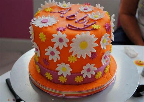 orange cake  white flowersjpg