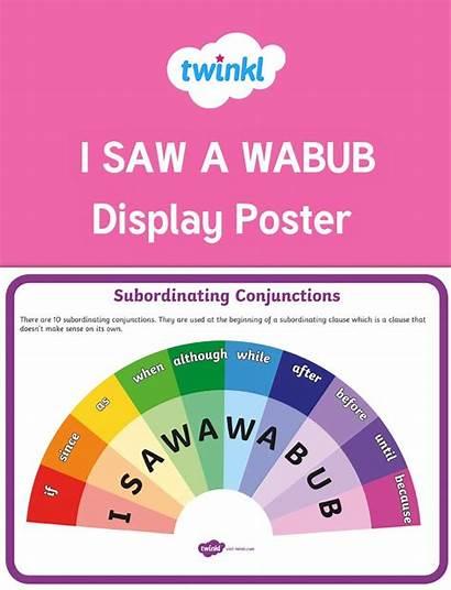 English Conjunctions Wabub Saw Subordinating Acronym Poster