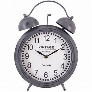 Pendule à Poser : pendule poser forme r veil matin style vintage en m tal gris et verre d33cm pier import ~ Teatrodelosmanantiales.com Idées de Décoration
