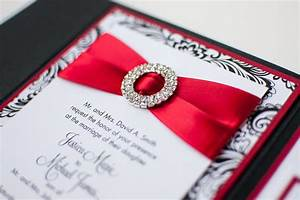 bling satin wedding invitation in matte poppy red black With black and white bling wedding invitations