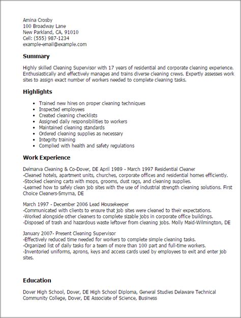 Cleaning Description For Resume by Professional Cleaning Supervisor Templates To Showcase Your Talent Myperfectresume