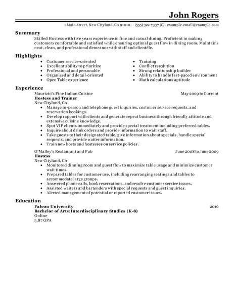 Hostess Resume by Best Host Hostess Resume Exle Livecareer
