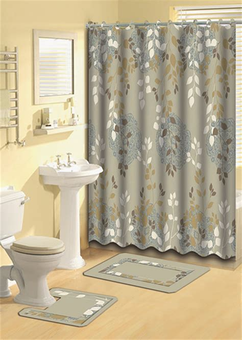 Taupe Aqua Floral Vines Shower Curtain 15 Pc Bath Rug Mat Contour Hooks Set eBay