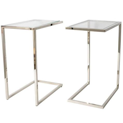 netted glass table l pair of milo baughman quot thin line quot polished chrome and 3469