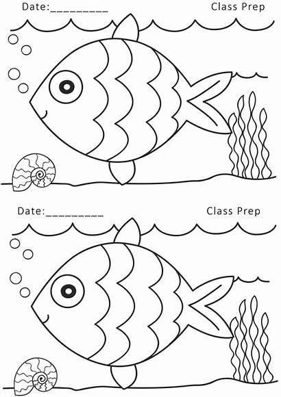 Worksheets Nursery Drawing Printable Pre Coloring Fish