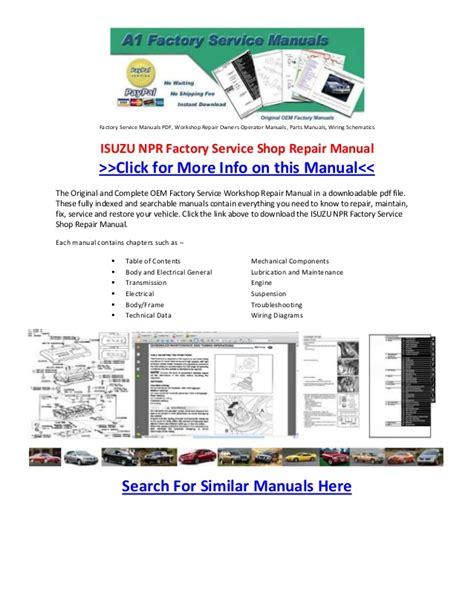 Isuzu Npr Factory Service Shop Repair Manual