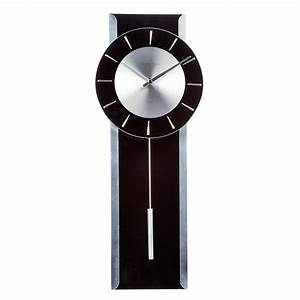 Debenhams black glass 39pendulum39 wall clock ebay for Black glass wall clock