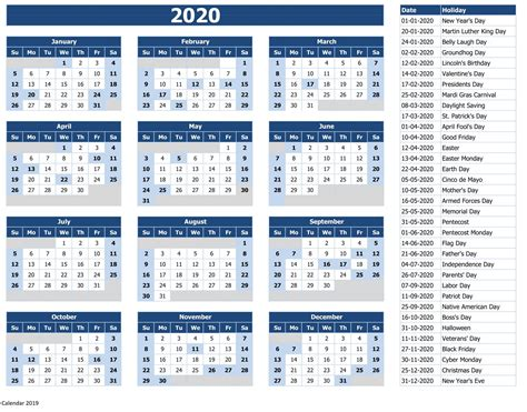 2019 Free Yearly Calendar