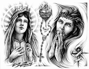 Virgin Mary Sacred Heart n Jesus Tattoo Design photo - 1 ...