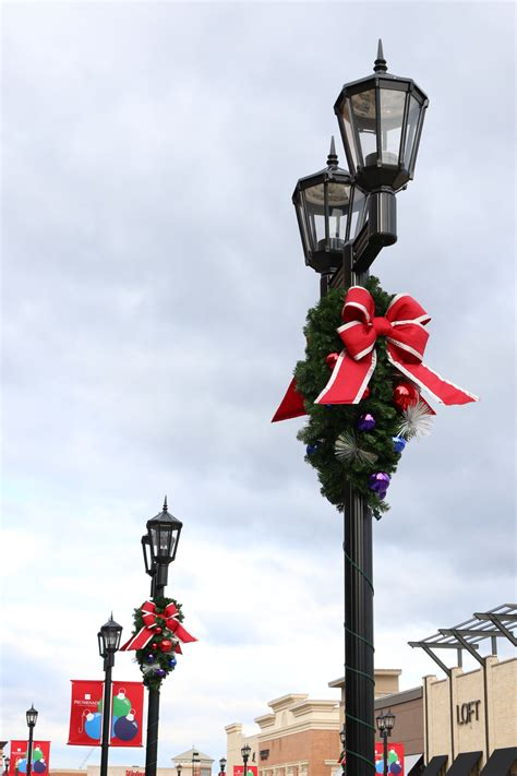 pine spray light pole decoration downtown decorations