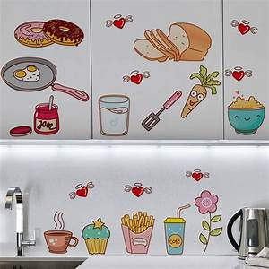 creative food pattern self adhesive vinyl removable decal With kitchen cabinets lowes with made in michigan stickers