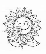 Sunflower Coloring Flower Smiling Cartoon Drawing Printable Power Colouring Printables Getdrawings Inspirational Template Wuppsy Coloringsuite Sketch sketch template
