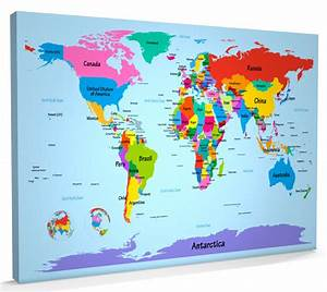 Map of the World Map Big Text for Kids, Box CANVAS A1 ...