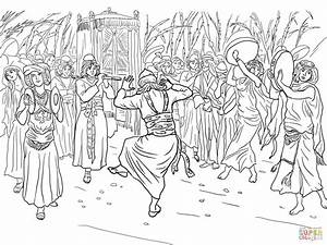 King David Dancing Before The Ark Of The Covenant Coloring Page Free Printable Coloring Pages