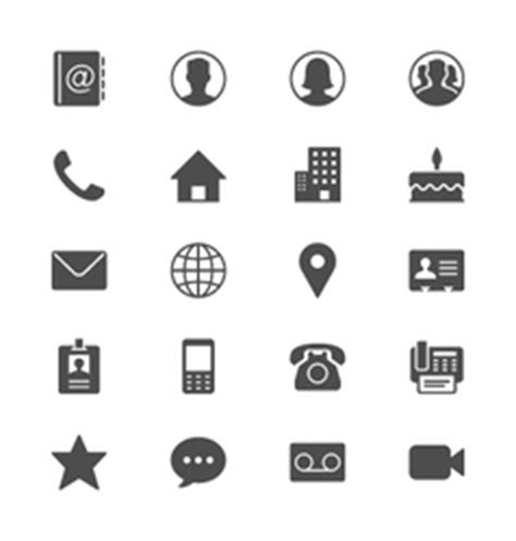 Contact Icon Set Simplicity Theme Royalty Free Vector Image