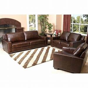 Pemberly row 3 piece leather sofa set in espresso pr 490268 for Furniture row leather living room sets