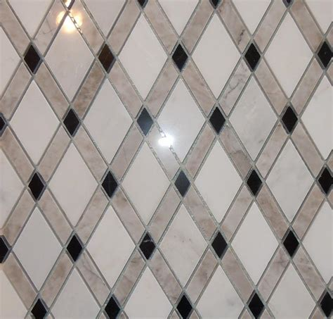 Circle Mirror Wall Decor by Lattice Rhomboid Tile Diamond Tile Marble Mosaic From
