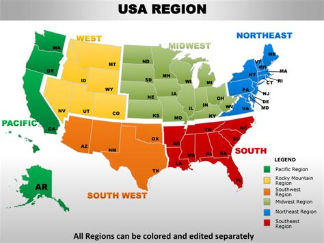 Usa midwest region country editable powerpoint maps with ...