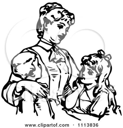 single parent family clipart black and white and children clip