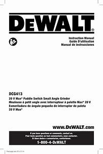 Dewalt Dcg413b Type 1 User Manual Grinder Angle Manuals