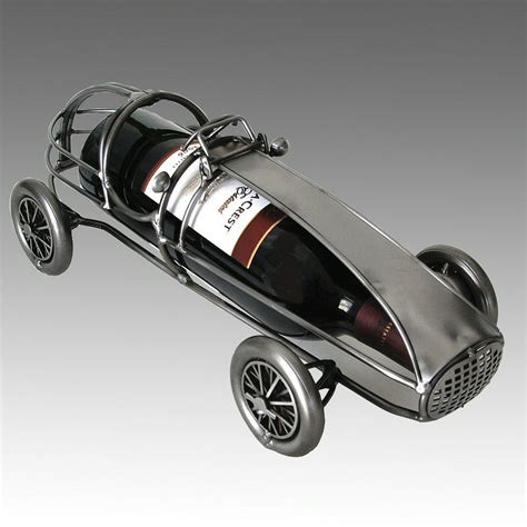 Car Metal by Whimsical Classic Race Car Metal Wine Bottle Holder Barware