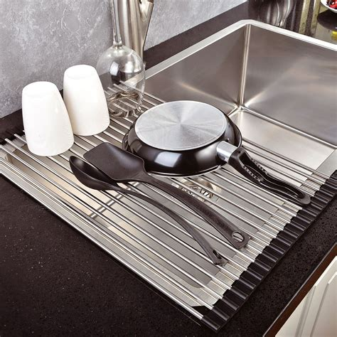 over sink drainer rack over the sink kitchen dish drainer drying rack roll up