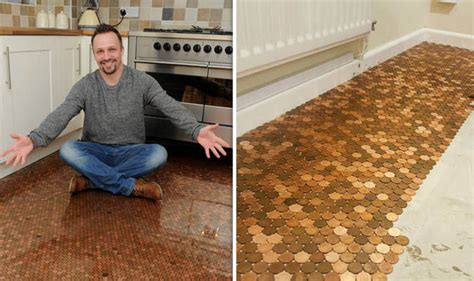 kitchen floor made out of pennies creates kitchen floor with one pence pennies uk 9373