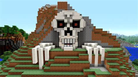 minecraft tutorial     skeleton house scary halloween house cave house skull