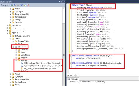 sql query to create table sql server 2014 tips create indexes directly via create