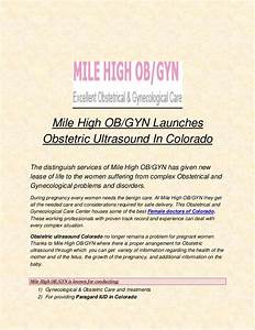 Mile High Ob  Gyn Launches Obstetric Ultrasound In Colorado
