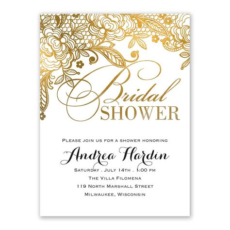 Bridal Shower Invitations - gold lace bridal shower invitation s bridal bargains