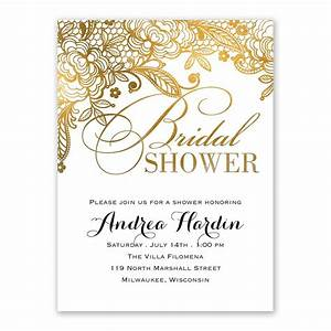 Gold lace bridal shower invitation ann39s bridal bargains for Lace wedding shower invitations