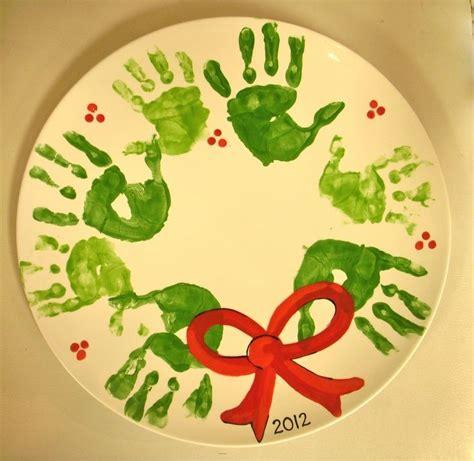 christmas handprint crafts handprint wreath painted